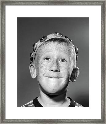 1950s Portrait Of Smiling Freckled Teen Framed Print