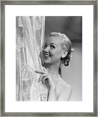 1950s Portrait Of Wet Blonde Woman Framed Print