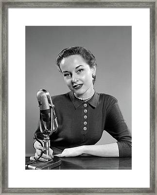 1950s Portrait Of Woman Announcer Framed Print