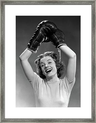 1950s Portrait Of Woman Wearing Boxing Framed Print