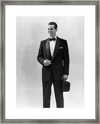 1950s Portrait Smiling Man Wearing Framed Print