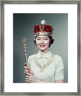 1950s Portrait Smiling Woman Wearing Framed Print