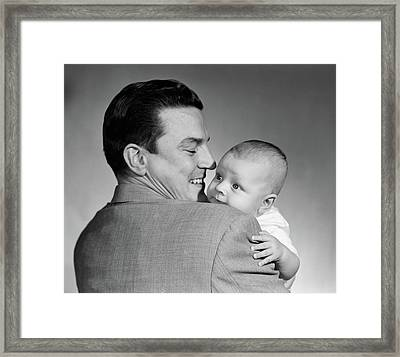 1950s Proud Smiling Man Father Back Framed Print
