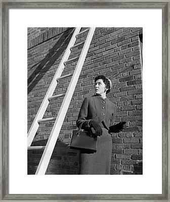 1950s Provoking Bad Luck Woman Wearing Framed Print