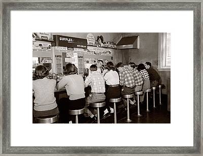 1950s Rear View Of Group Of Teenage Framed Print