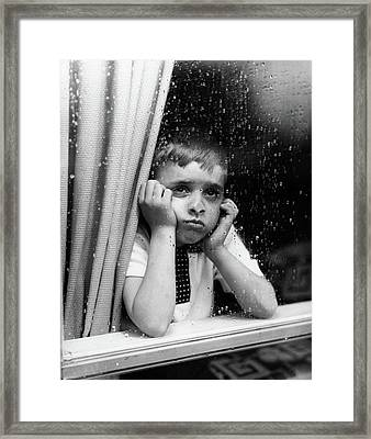 1950s Sad Boy Looking Framed Print