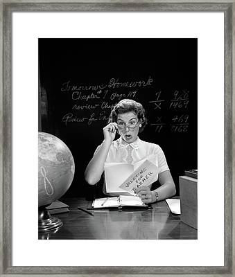 1950s School Teacher At Desk Hand Framed Print