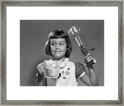 1950s Smiling Girl Holding Measuring Framed Print