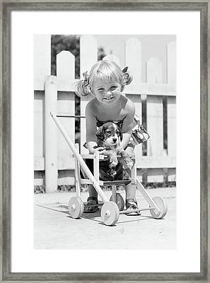 1950s Smiling Girl With Blonde Pigtails Framed Print