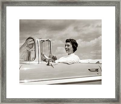 1950s Smiling Woman Driving Chevrolet Framed Print