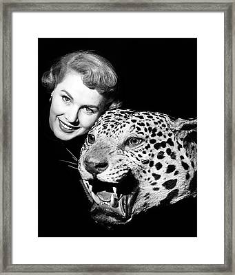 1950s Smiling Woman Face Looking Framed Print