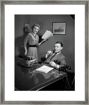 1950s Smiling Woman Secretary Holding Framed Print