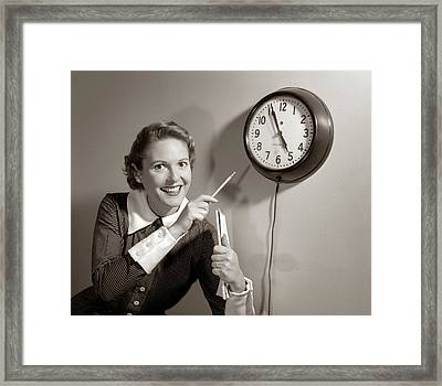 1950s Smiling Woman Stenographer Office Framed Print
