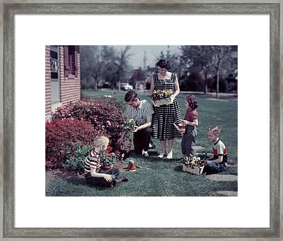1950s Suburban Family Gardening Framed Print