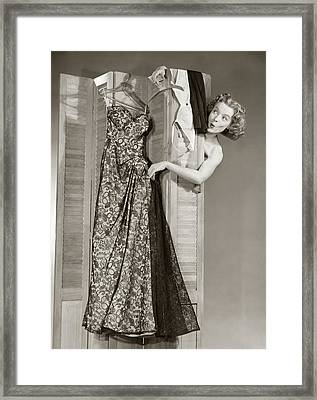 1950s Surprised Nude Woman Head And Arm Framed Print