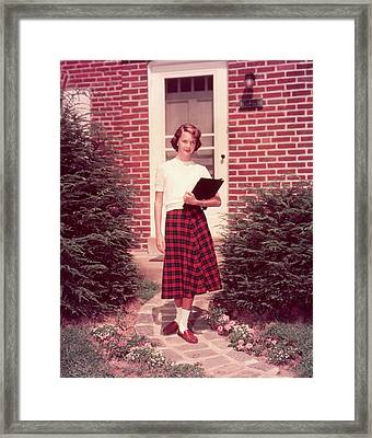 1950s Teen Teenage Girl Holding School Framed Print