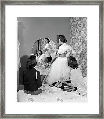1950s Teenage Girl Holding Up Prom Framed Print