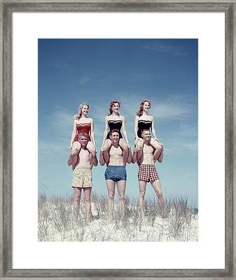 1950s Three Teenage Couples Standing Framed Print