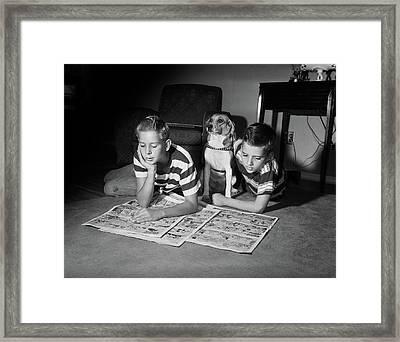 1950s Two Boys Reading Sunday Comics Framed Print