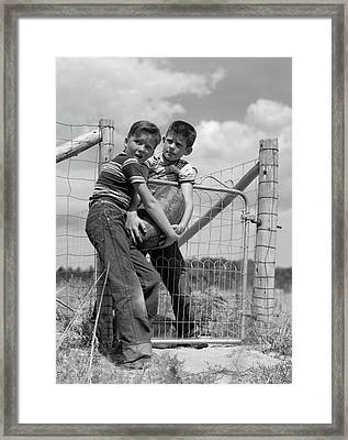 1950s Two Farm Boys In Striped T-shirts Framed Print