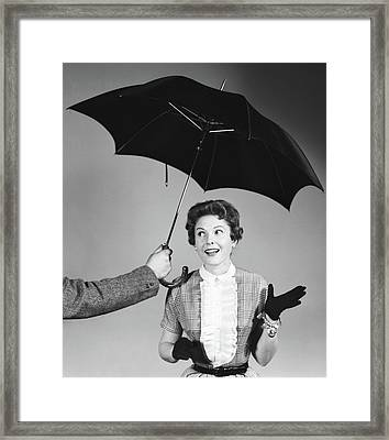 1950s Unseen Man Hold Out Umbrella Framed Print