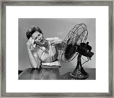 1950s Very Hot Woman Wiping Forehead Framed Print