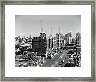 1950s View Of Downtown And Greyhound Framed Print