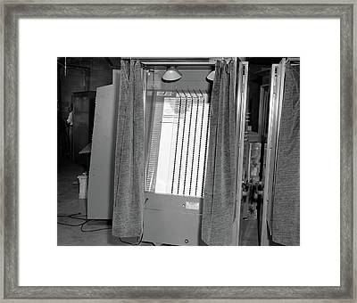 1950s Voting Booth Machine With Curtain Framed Print