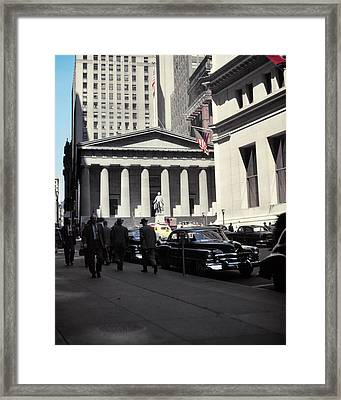 1950s Wall Street View Looking Towards Framed Print