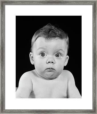 1950s Wide Eyed Chubby Cheek Baby Framed Print