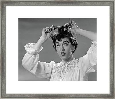 1950s Woman In Nightgown Putting Roller Framed Print