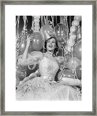 1950s Woman In Party Dress Surrounded Framed Print