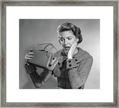 1950s Woman With Exaggerated Expression Framed Print
