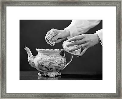 1950s Womans Hands Putting Wad Of Cash Framed Print