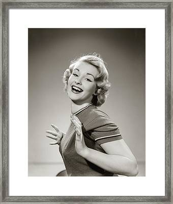 1950s Young Woman Smiling With Both Framed Print