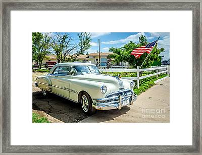 1951 Chieftain With Flag Framed Print by Bob and Nancy Kendrick