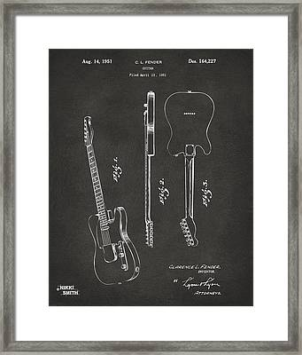 1951 Fender Electric Guitar Patent Artwork - Gray Framed Print by Nikki Marie Smith