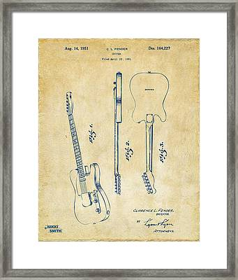 1951 Fender Electric Guitar Patent Artwork - Vintage Framed Print by Nikki Marie Smith