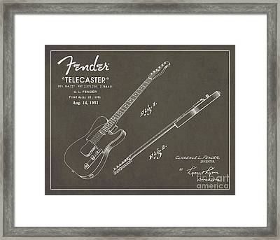 1951 Fender Telecaster Guitar Patent Art In White Chalk On Gray  Framed Print by Nishanth Gopinathan