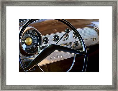 1951 Ford Crestliner Steering Wheel Framed Print by Jill Reger