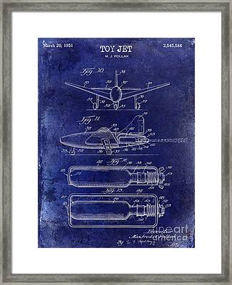 1951 Toy Jet Patent Drawing Blue Framed Print by Jon Neidert
