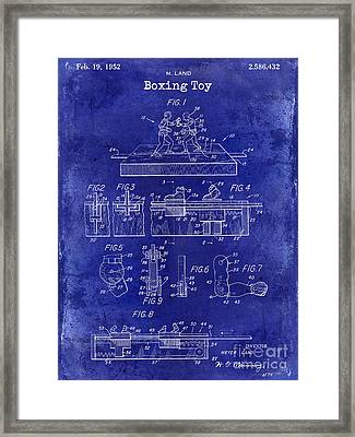 1952 Boxing Toy Patent Drawing Blue Framed Print by Jon Neidert