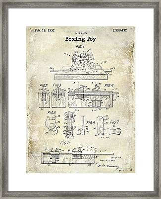 1952 Boxing Toy Patent Drawing Framed Print