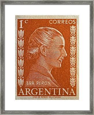 1952 Eva Peron Argentina Stamp Framed Print