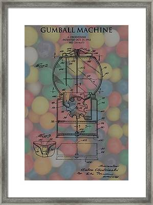1952 Gumball Machine Patent Poster Framed Print