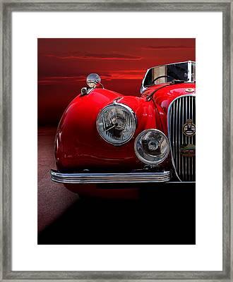 1952 Jaguar Xk120 Sport Car Red Framed Print by Radoslav Nedelchev