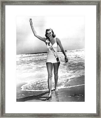 1952 Miss America On Beach Framed Print by Retro Images Archive