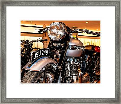Framed Print featuring the photograph 1952 Triumph Tiger 100 by Steve Benefiel