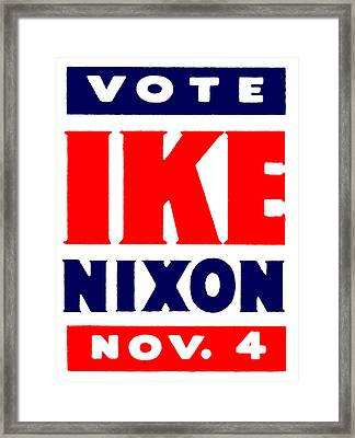 1952 Vote Ike And Nixon Framed Print by Historic Image
