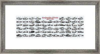 1953-2014-corvettes Framed Print